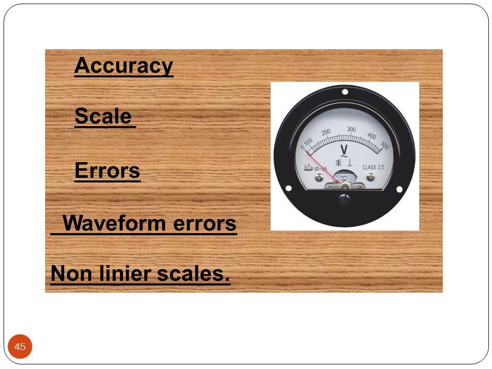 Accuracy Scale Errors Waveform errors Non linier scales. 45