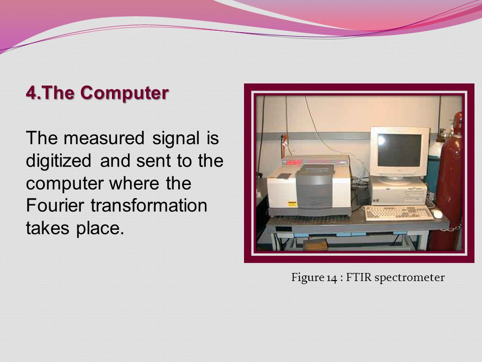 4.The Computer The measured signal is digitized and sent to the computer where the Fourier transformation takes place. Figure 14 : FTIR spectrometer