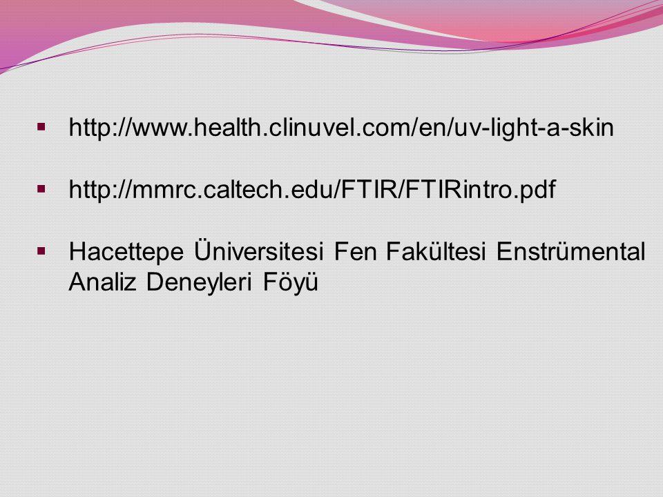  http://www.health.clinuvel.com/en/uv-light-a-skin  http://mmrc.caltech.edu/FTIR/FTIRintro.pdf  Hacettepe Üniversitesi Fen Fakültesi Enstrümental Analiz Deneyleri Föyü