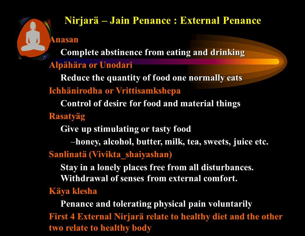 Anasan Complete abstinence from eating and drinking Alpähära or Unodari Reduce the quantity of food one normally eats Ichhänirodha or Vrittisamkshepa Control of desire for food and material things Rasatyäg Give up stimulating or tasty food –honey, alcohol, butter, milk, tea, sweets, juice etc.