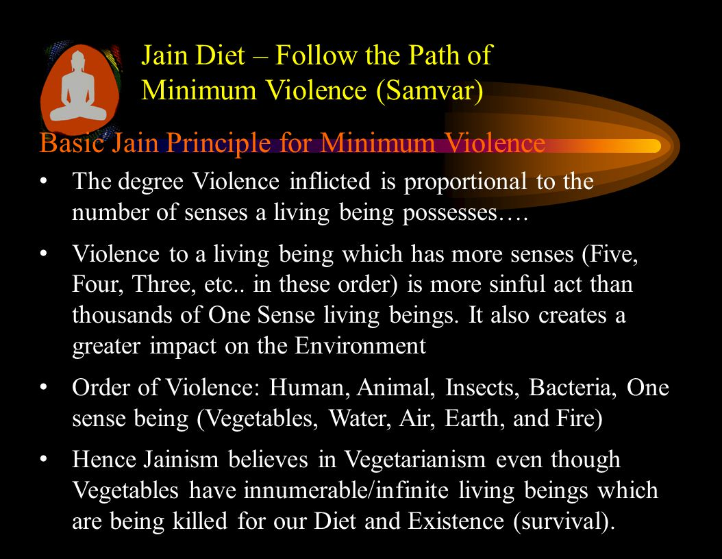 Jain Diet – Follow the Path of Minimum Violence (Samvar) Order of Degree of Violence (highest to lowest) 1.Violence to oneself (Highest Sin) – from spiritual point of view, consuming food that degrades our health and awareness 2.Violence or Exploitation of other Human Beings (2 nd Highest Sin) - food, clothes, and shelters prepared by child labor, or by exploiting other human beings 3.Violence to five sensed Animals (3 rd Highest Sin) - food prepared by exploiting and killing animals