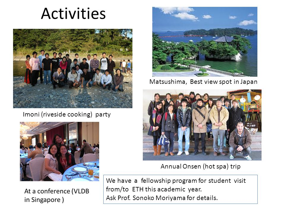 Activities We have a fellowship program for student visit from/to ETH this academic year.