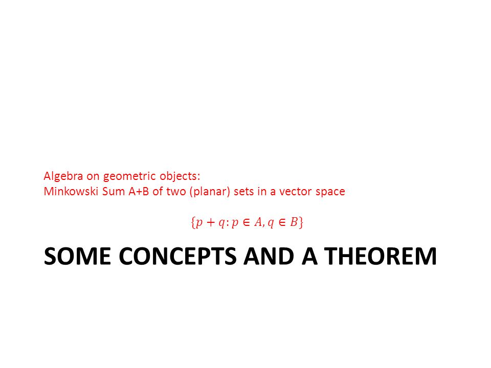 SOME CONCEPTS AND A THEOREM