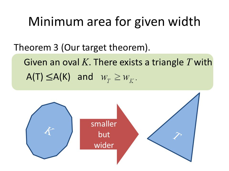 Minimum area for given width K smaller but wider T