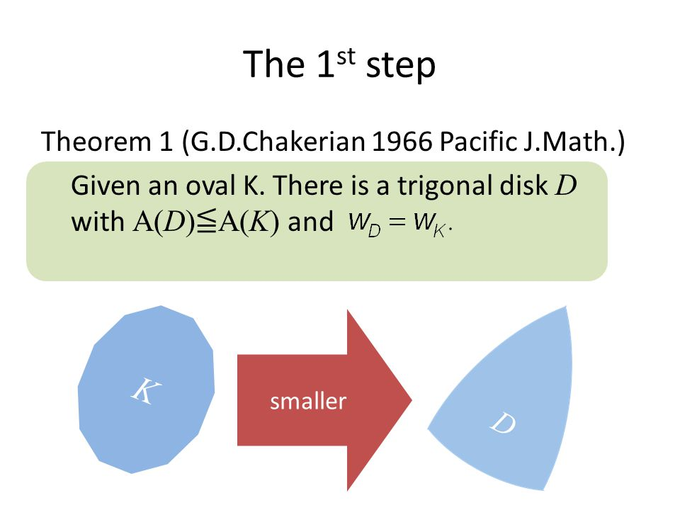 The 1 st step Theorem 1 (G.D.Chakerian 1966 Pacific J.Math.) Given an oval K.