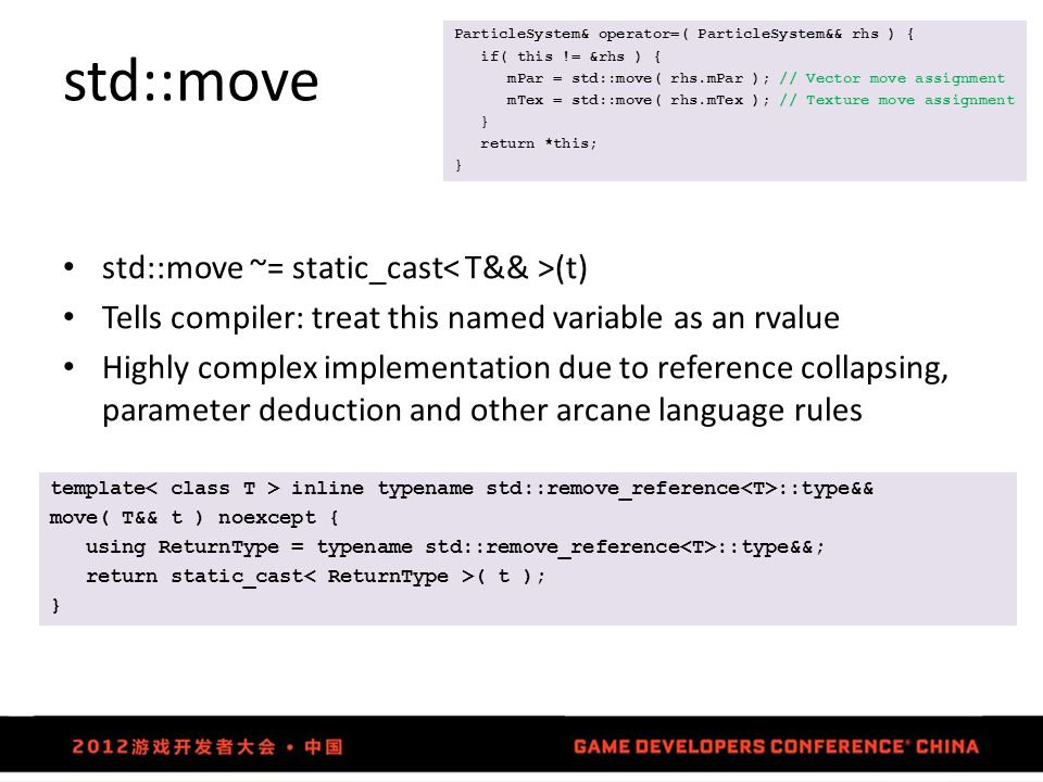 std::move std::move ~= static_cast (t) Tells compiler: treat this named variable as an rvalue Highly complex implementation due to reference collapsin