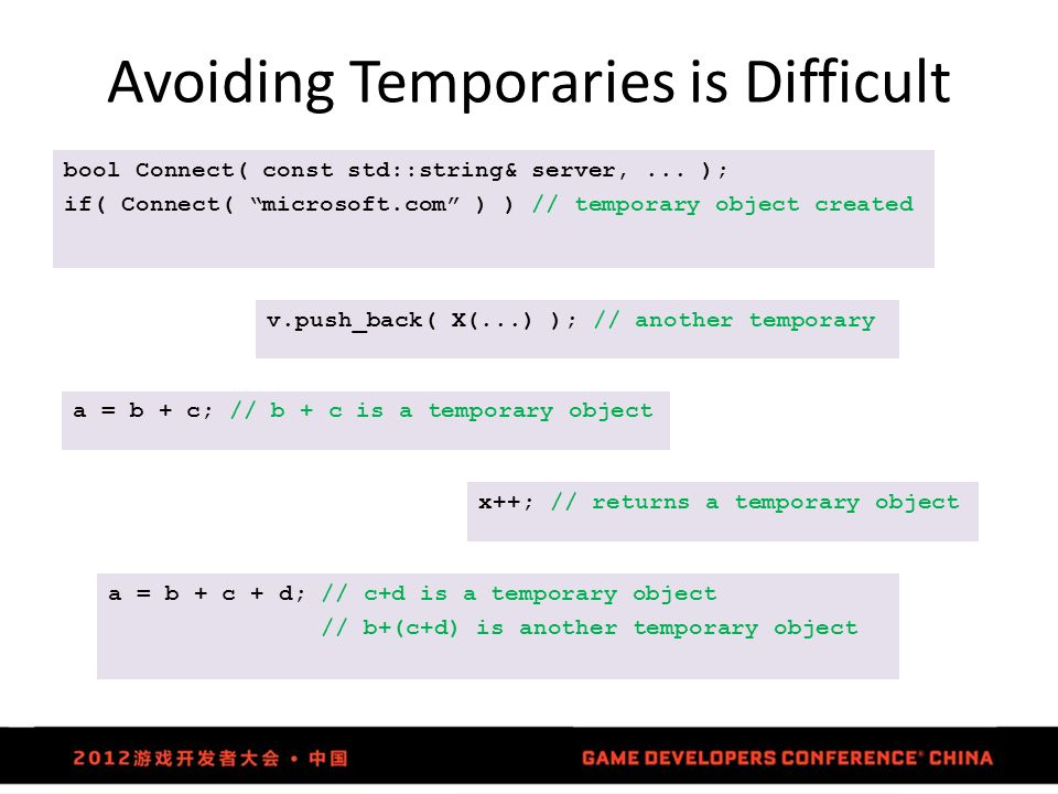 "Avoiding Temporaries is Difficult bool Connect( const std::string& server,... ); if( Connect( ""microsoft.com"" ) ) // temporary object created v.push_b"