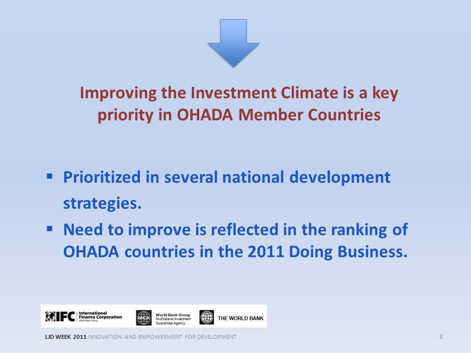  Prioritized in several national development strategies.