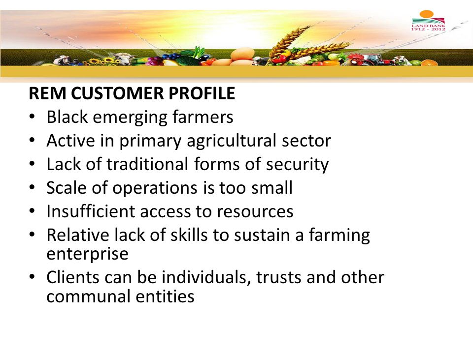 REM CUSTOMER PROFILE Black emerging farmers Active in primary agricultural sector Lack of traditional forms of security Scale of operations is too sma