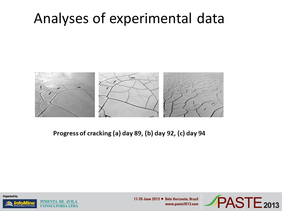 Analyses of experimental data Progress of cracking (a) day 89, (b) day 92, (c) day 94