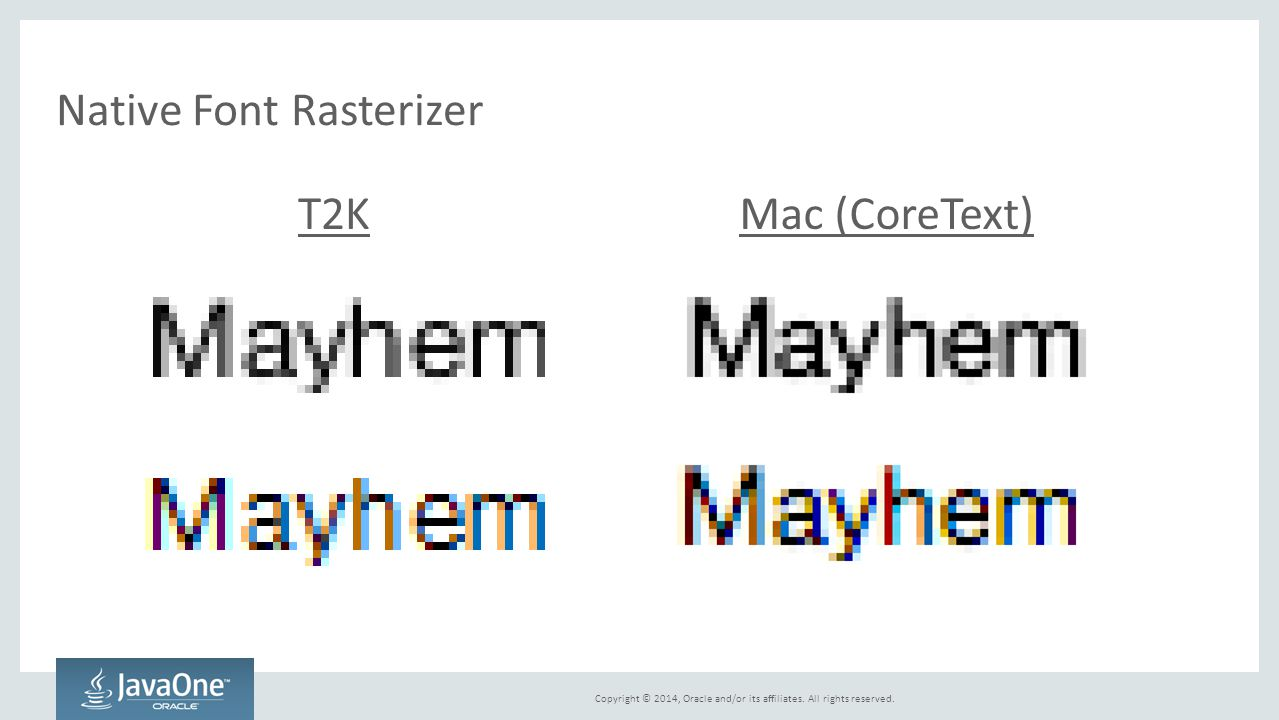 Copyright © 2014, Oracle and/or its affiliates. All rights reserved. Native Font Rasterizer T2KMac (CoreText)
