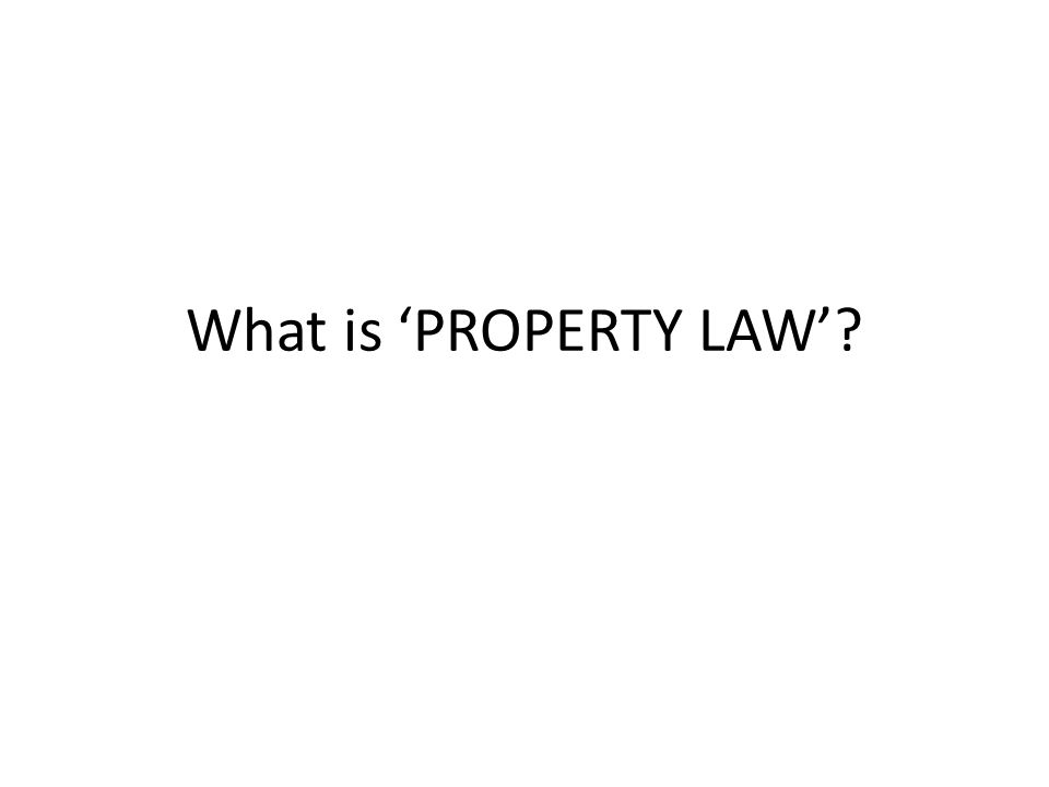 PROPERTY LAW deals with entitlements to property PROPERTY- an object (ex.