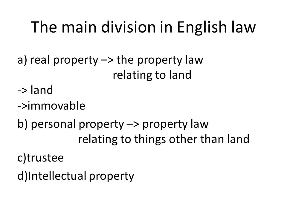 Land land is a major part of the wider English property law (feudal structure) English land law involves the acquisition, content and priority of rights and obligations among people with interests in land the traditional content of English land law relates to property rights that derive from common law, equity and the registration system