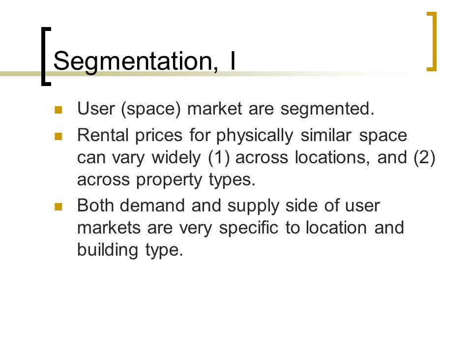 Segmentation, I User (space) market are segmented.