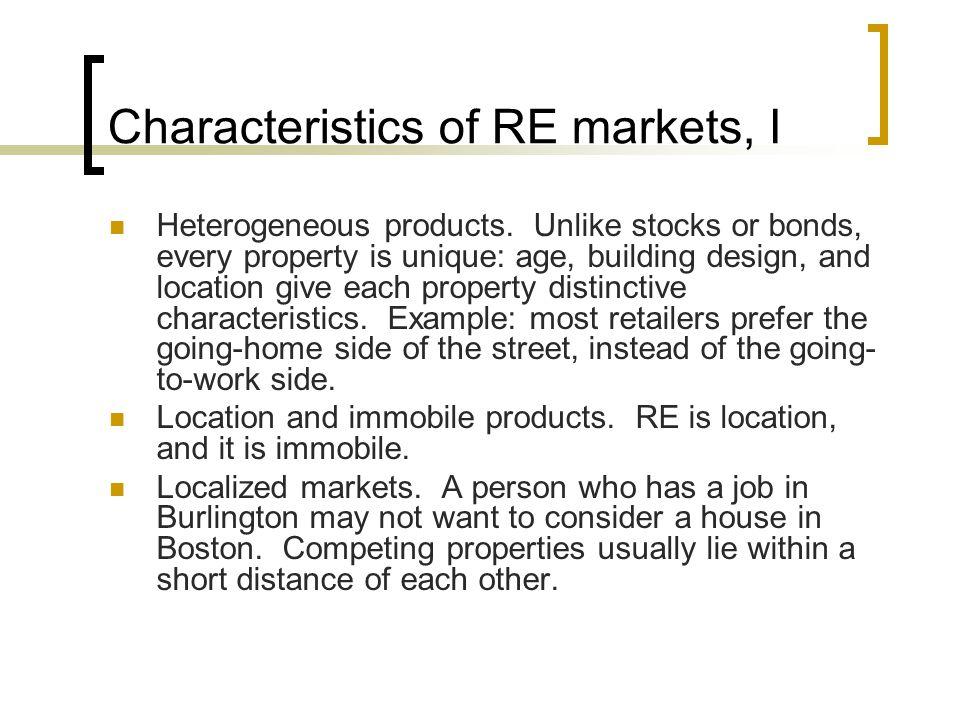 Characteristics of RE markets, I Heterogeneous products.