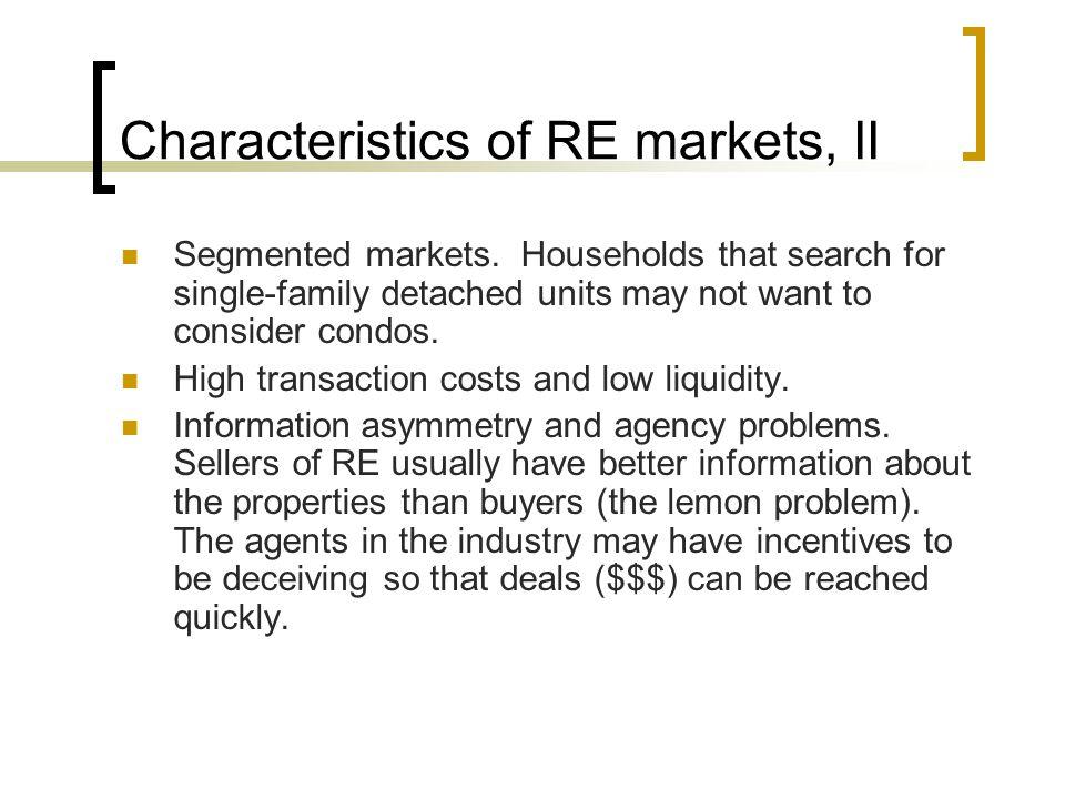 Characteristics of RE markets, II Segmented markets.