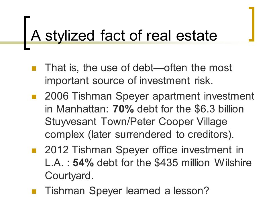 A stylized fact of real estate That is, the use of debt—often the most important source of investment risk.