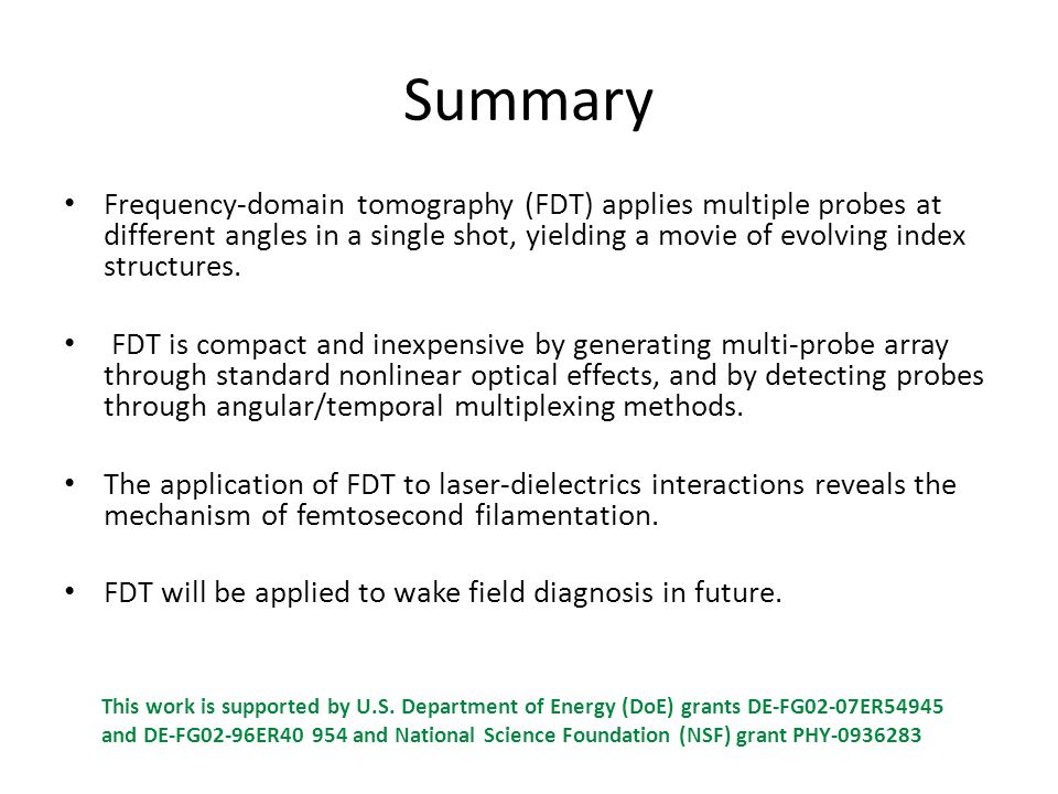 Summary Frequency-domain tomography (FDT) applies multiple probes at different angles in a single shot, yielding a movie of evolving index structures.