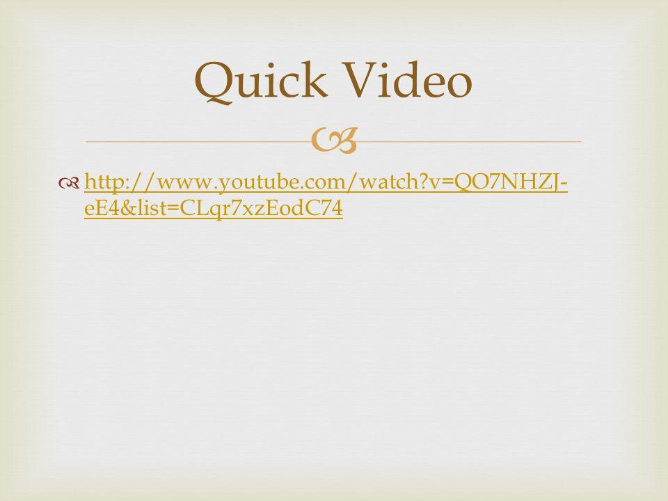   http://www.youtube.com/watch?v=QO7NHZJ- eE4&list=CLqr7xzEodC74 http://www.youtube.com/watch?v=QO7NHZJ- eE4&list=CLqr7xzEodC74 Quick Video