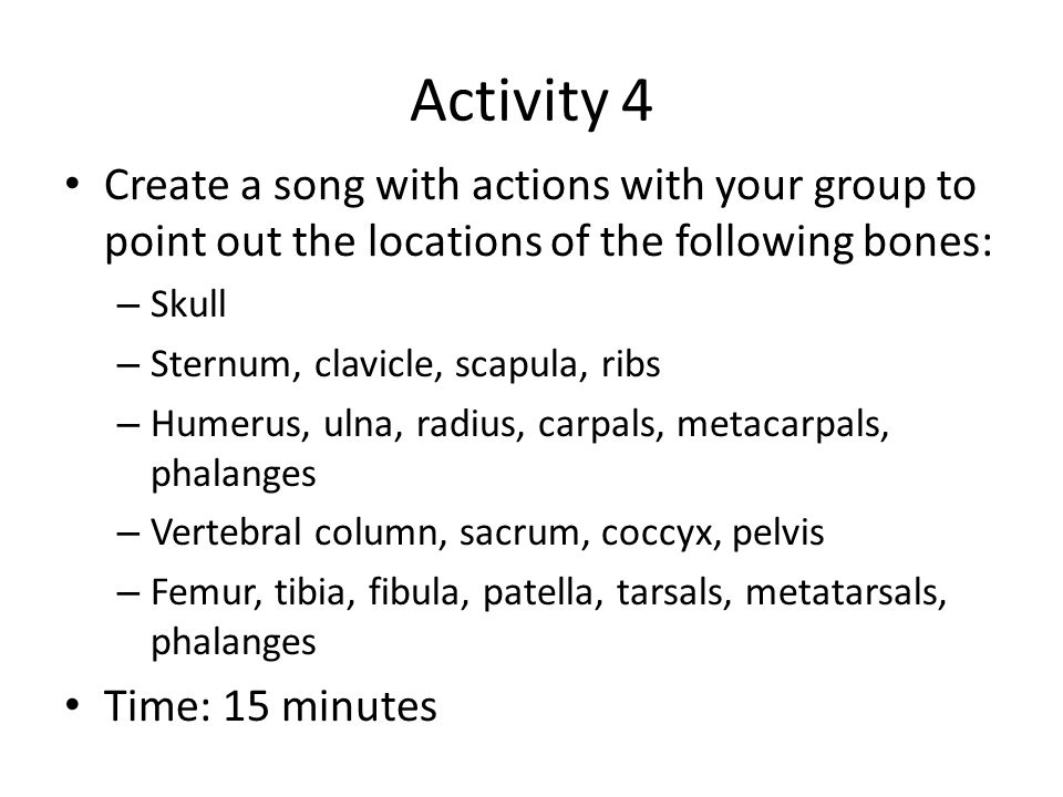Activity 1 Video: Musculoskeletal system As you watch the video, make note of the functions and structures of the muscular and skeletal systems Write down any questions you have that the video did not answer for you Time: 20 minutes