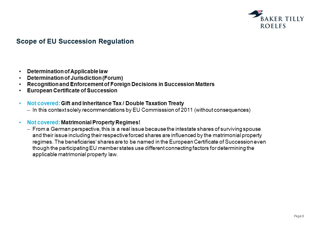 """Page 4 Transitional provisions (Term) June 2012 Regulation passed by Council of Ministers of Justice Example: August 2012 """"Entry into force 17 August 2015 Applicability April 1980 Will and Testament August 2013 Codicil January 2016 Death of Testator  EU Succession Regulation applies to the whole case including 1980 Will and Testament"""