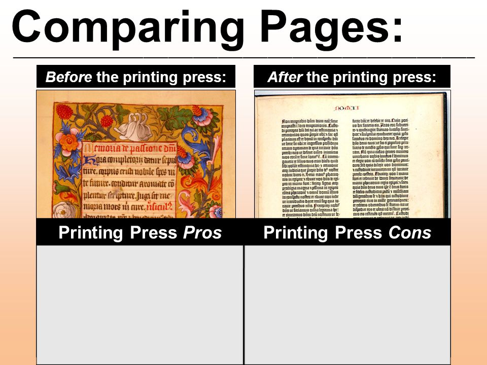 Comparing Pages: ________________________________________________________ Before the printing press:After the printing press: Printing Press ProsPrint