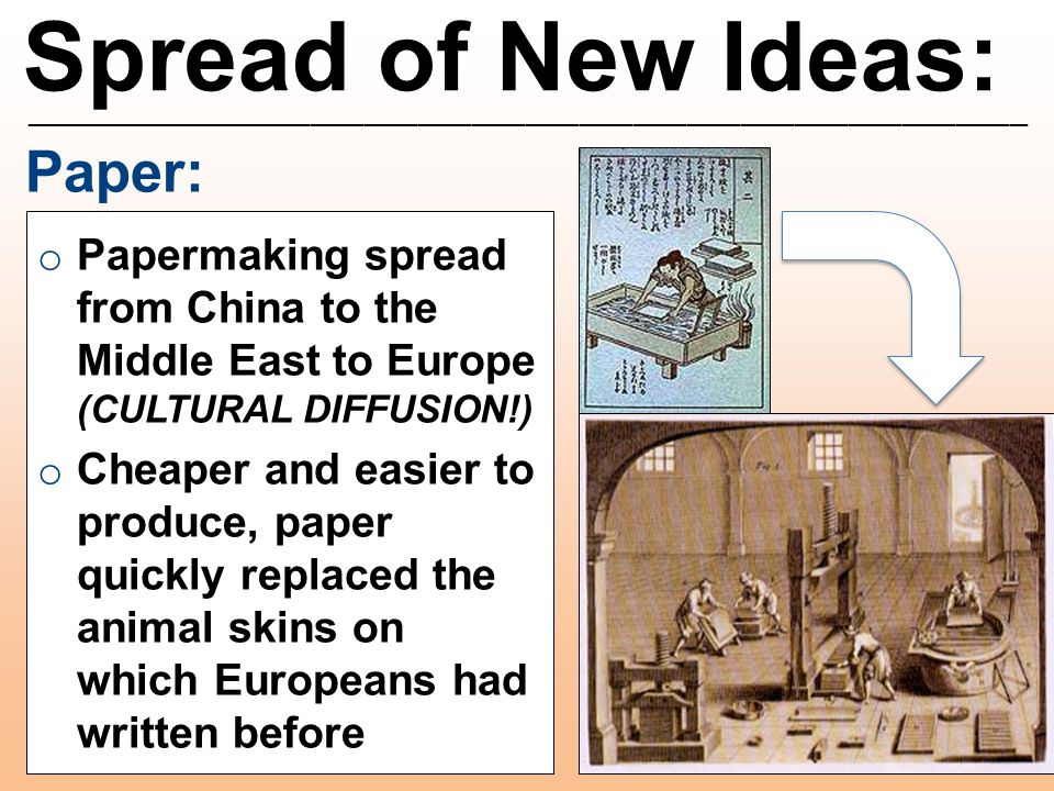 Spread of New Ideas: ________________________________________________________ Paper: o Papermaking spread from China to the Middle East to Europe (CUL