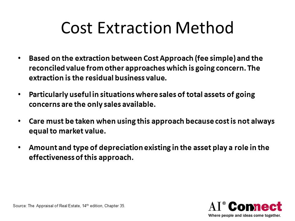 Cost Extraction Method Based on the extraction between Cost Approach (fee simple) and the reconciled value from other approaches which is going concern.