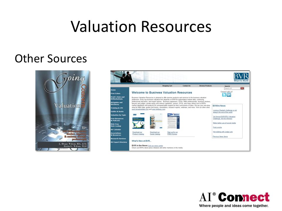 Valuation Resources Other Sources
