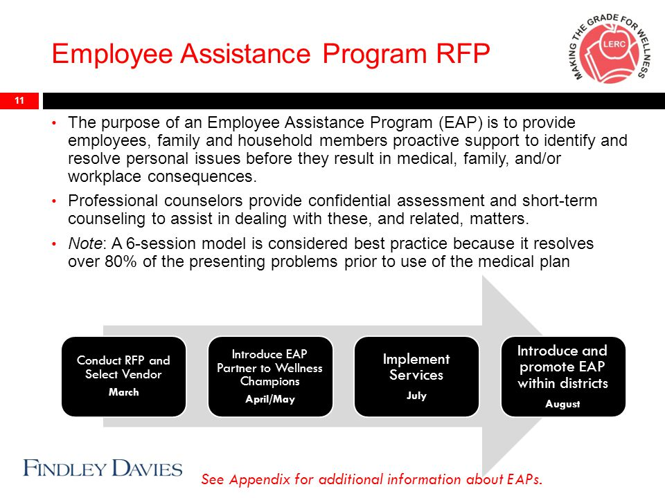 Employee Assistance Program RFP 11 The purpose of an Employee Assistance Program (EAP) is to provide employees, family and household members proactive support to identify and resolve personal issues before they result in medical, family, and/or workplace consequences.