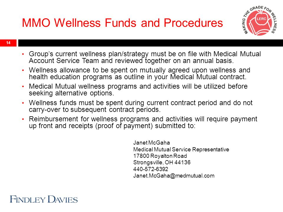 MMO Wellness Funds and Procedures 14 Group's current wellness plan/strategy must be on file with Medical Mutual Account Service Team and reviewed together on an annual basis.