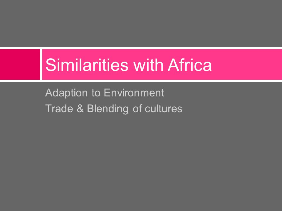 Adaption to Environment Trade & Blending of cultures Similarities with Africa