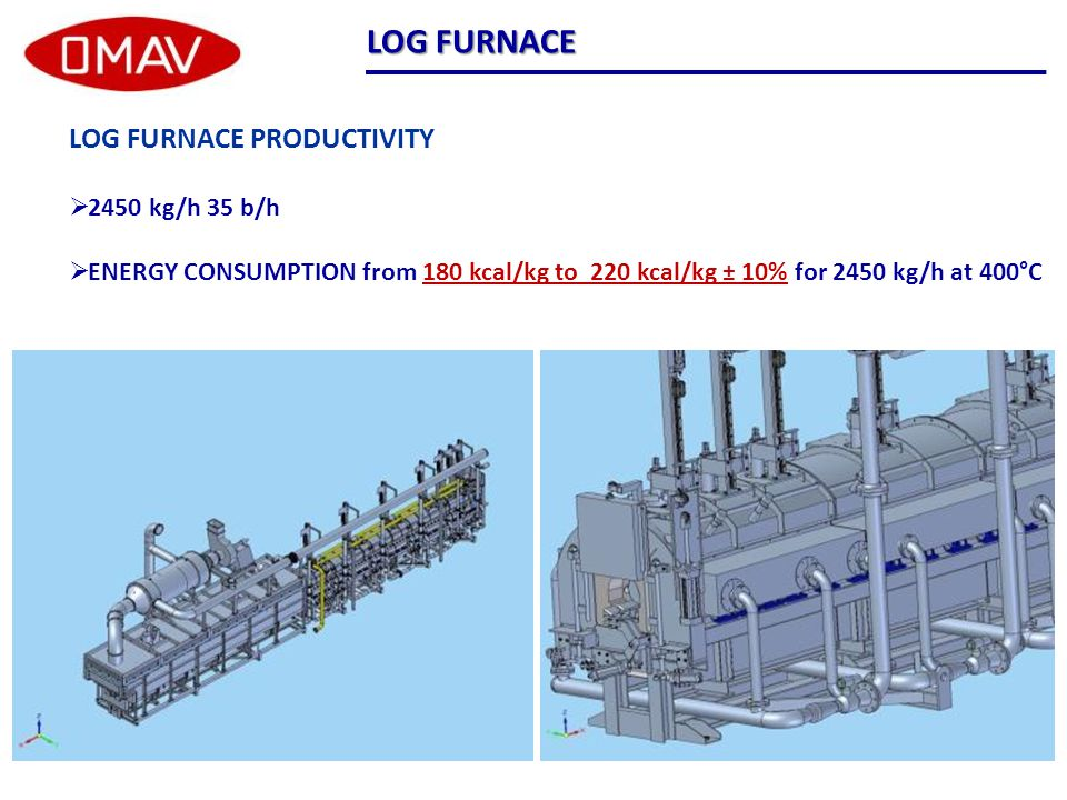 LOG FURNACE LOG FURNACE PRODUCTIVITY  2450 kg/h 35 b/h  ENERGY CONSUMPTION from 180 kcal/kg to 220 kcal/kg ± 10% for 2450 kg/h at 400°C