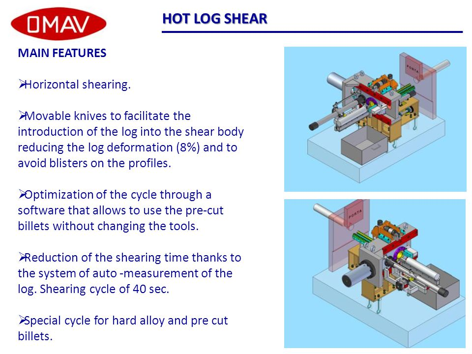 HOT LOG SHEAR MAIN FEATURES  Horizontal shearing.