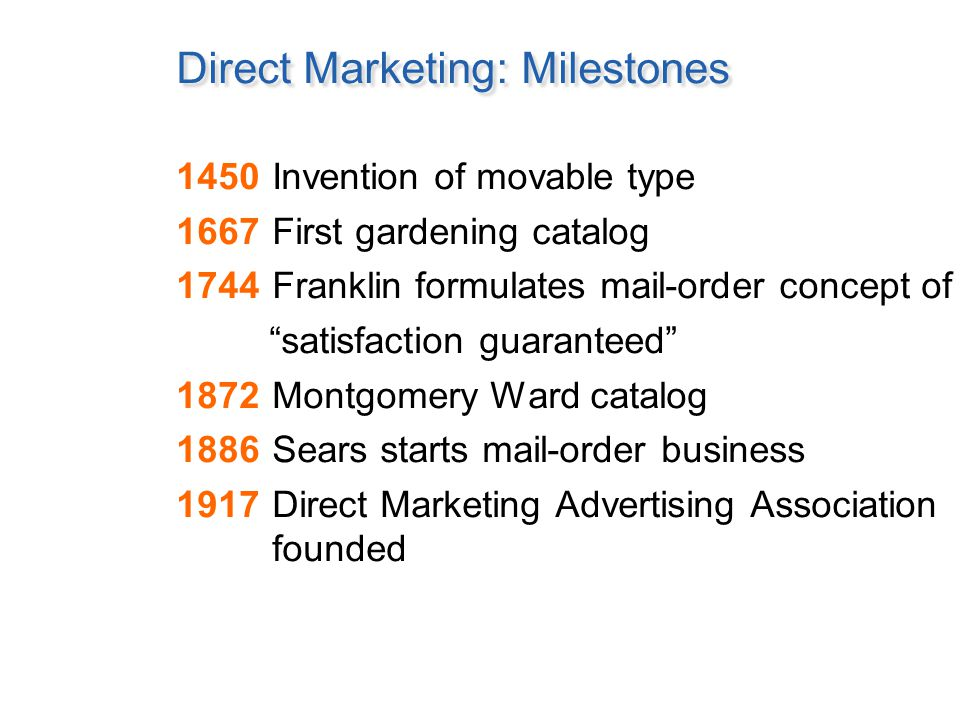 Direct Marketing: Milestones 1928Third-class bulk mail introduced 1950First credit card 1951Lillian Vernon places first ad 1953Publishers Clearing House founded 1967AT&T introduces toll-free 800 service 1992Over 100 million in U.S.