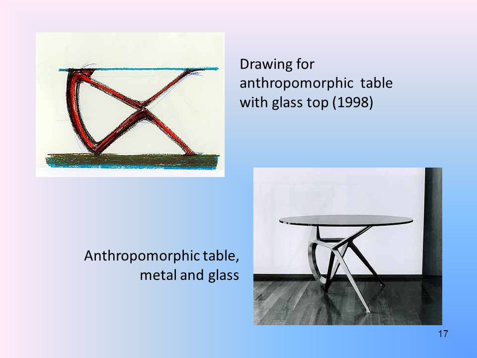 Drawing for anthropomorphic table with glass top (1998) Anthropomorphic table, metal and glass 17
