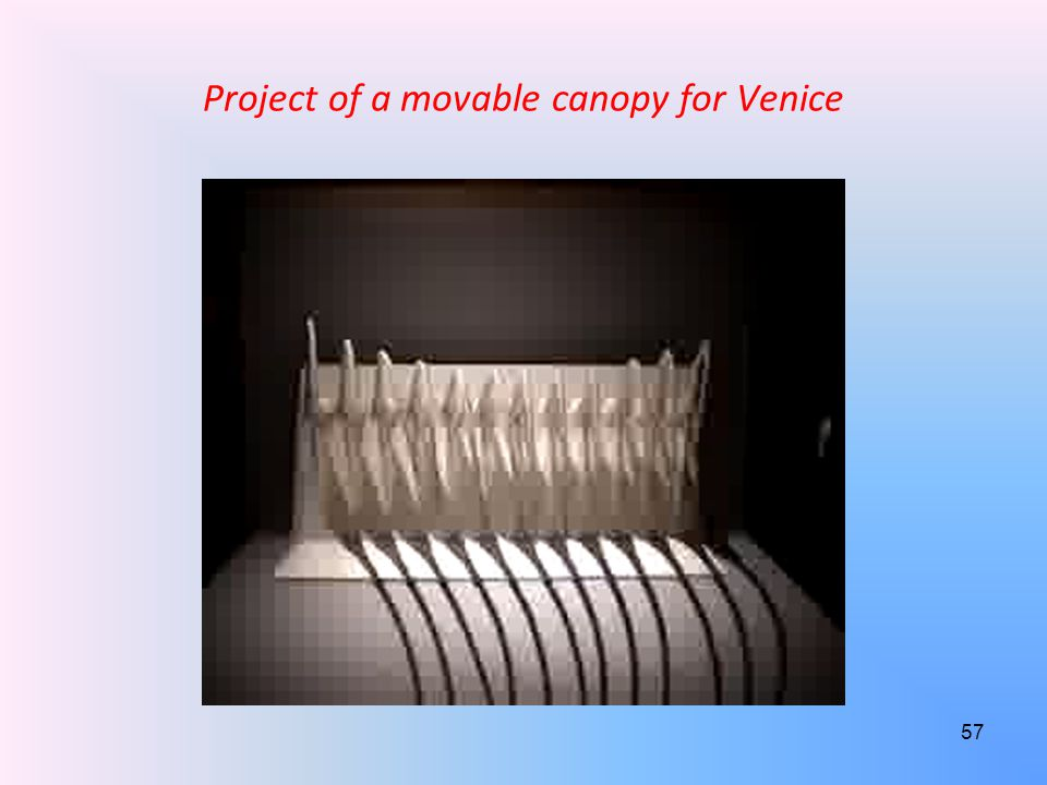 Project of a movable canopy for Venice 57