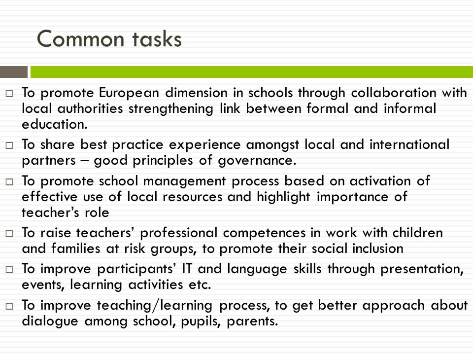 Common tasks  To promote European dimension in schools through collaboration with local authorities strengthening link between formal and informal education.