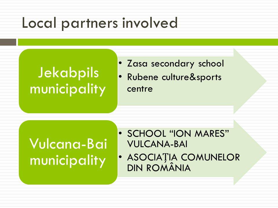 Local partners involved Zasa secondary school Rubene culture&sports centre Jekabpils municipality SCHOOL ION MARES VULCANA-BAI ASOCIAIA COMUNELOR DIN ROMÂNIA Vulcana-Bai municipality