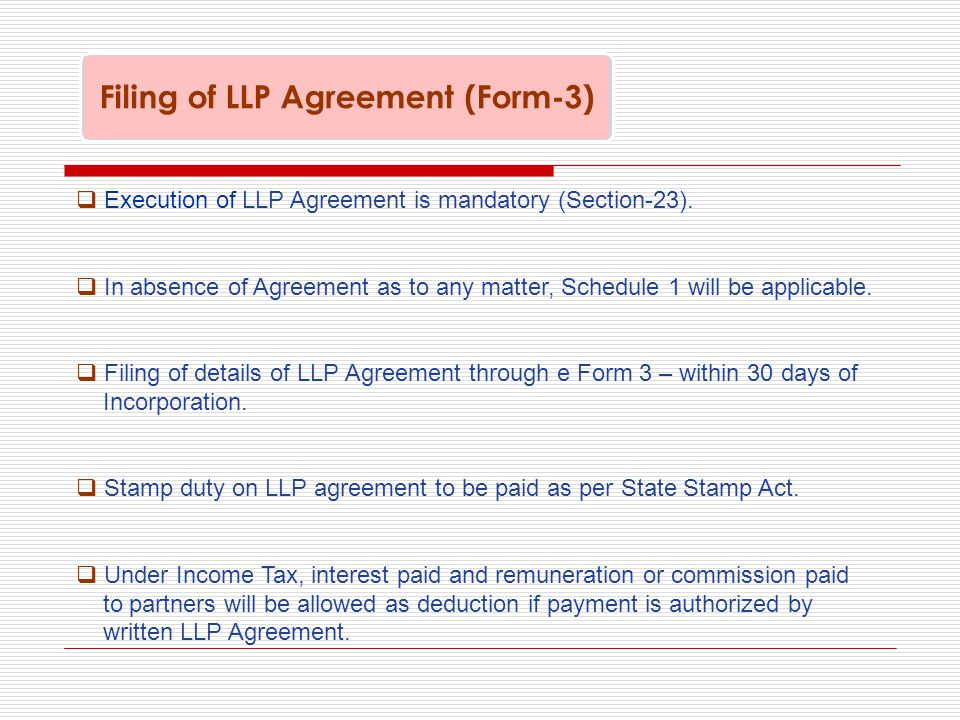  Execution of LLP Agreement is mandatory (Section-23).