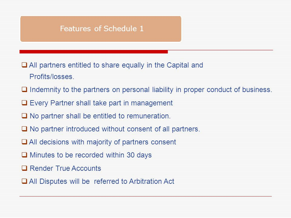 Features of Schedule 1  All partners entitled to share equally in the Capital and Profits/losses.