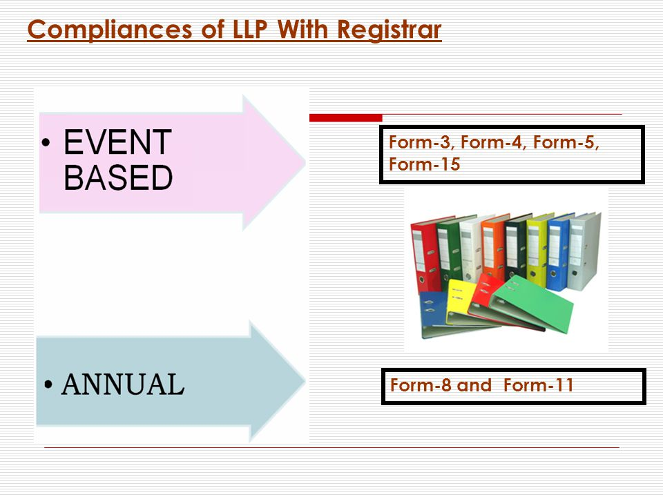 Compliances of LLP With Registrar Form-3, Form-4, Form-5, Form-15 Form-8 and Form-11