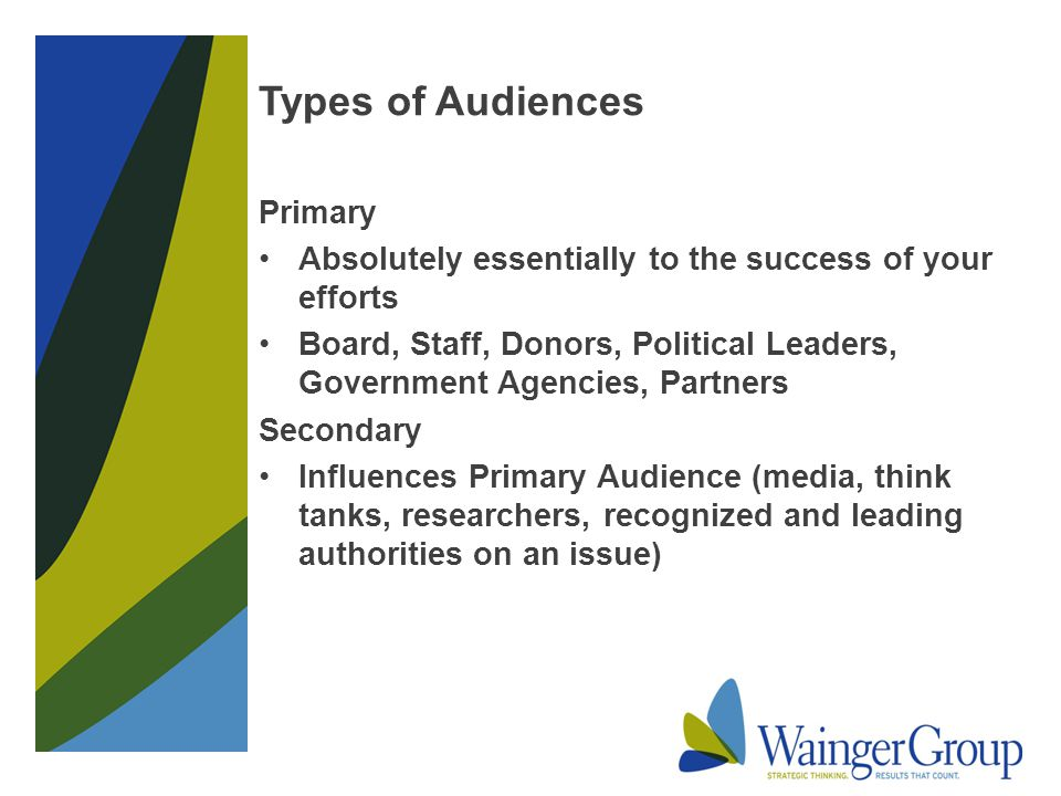 Types of Audiences Primary Absolutely essentially to the success of your efforts Board, Staff, Donors, Political Leaders, Government Agencies, Partners Secondary Influences Primary Audience (media, think tanks, researchers, recognized and leading authorities on an issue)