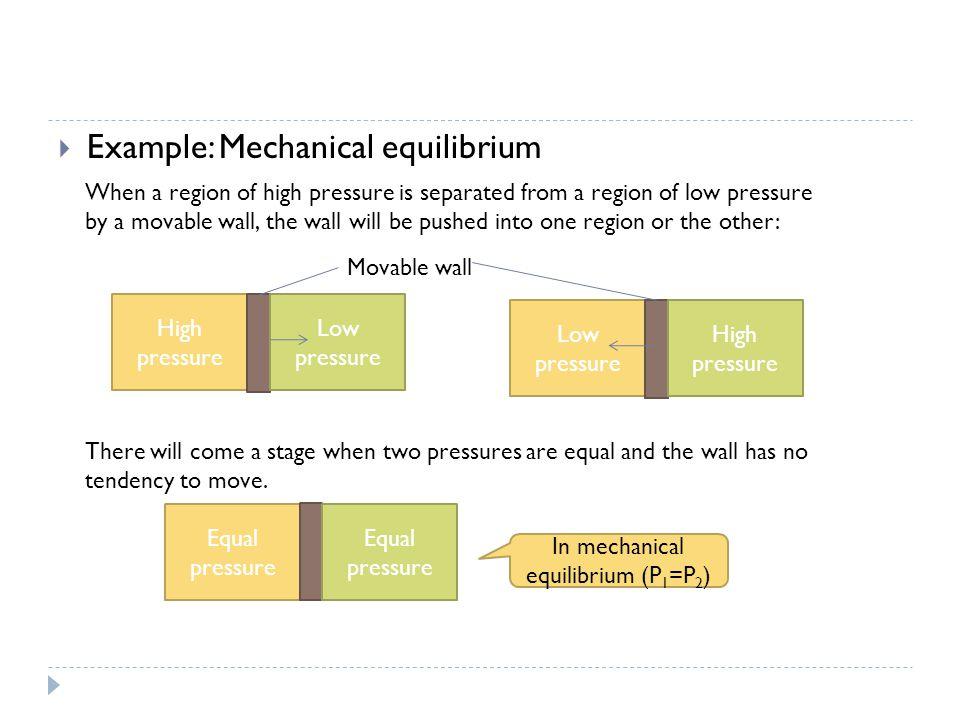 High pressure  Example: Mechanical equilibrium Low pressure Equal pressure Low pressure High pressure In mechanical equilibrium (P 1 =P 2 ) Movable wall When a region of high pressure is separated from a region of low pressure by a movable wall, the wall will be pushed into one region or the other: There will come a stage when two pressures are equal and the wall has no tendency to move.