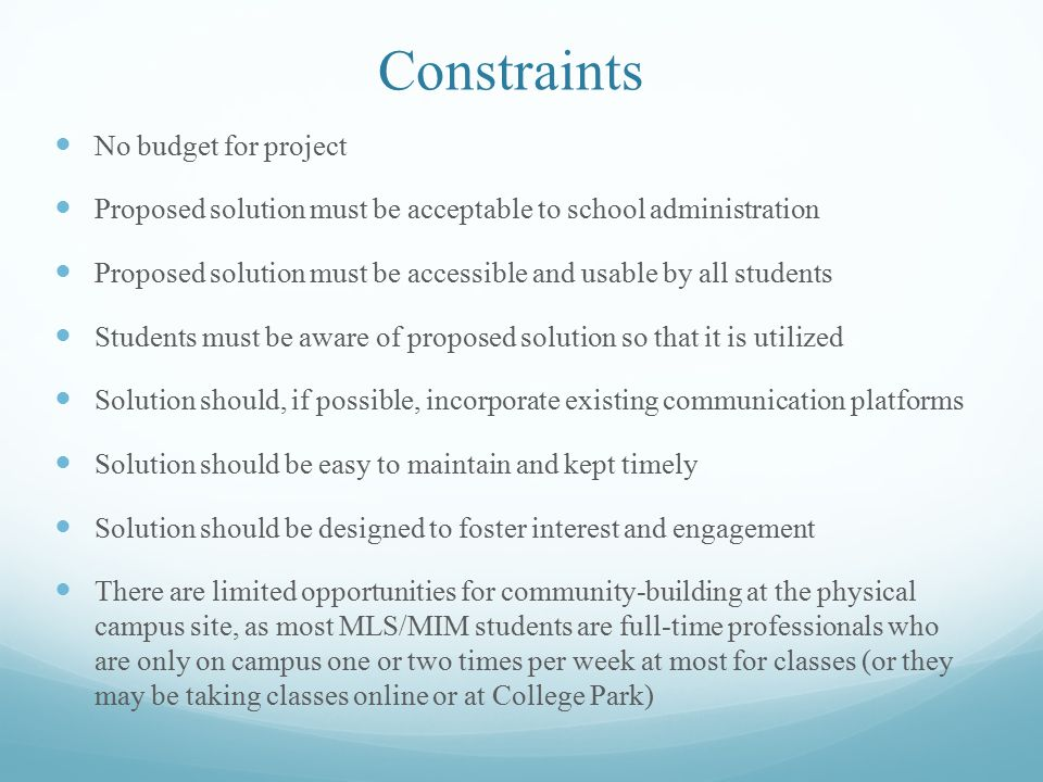 Evaluation Criteria Can the proposal enhance the sense of community among students.