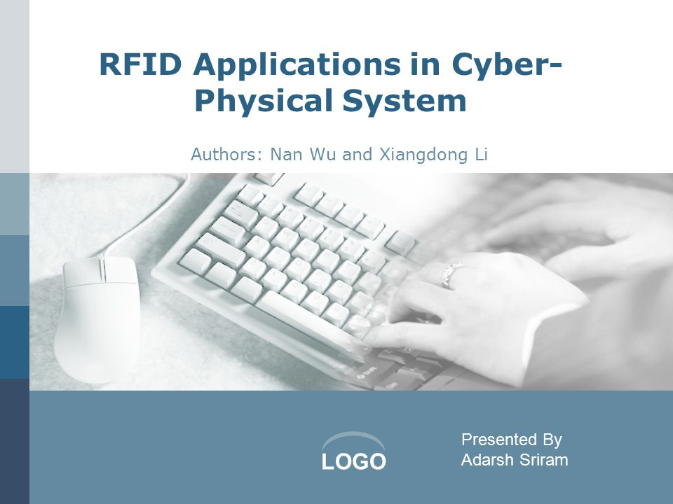 LOGO RFID Applications in Cyber- Physical System Authors: Nan Wu and Xiangdong Li Presented By Adarsh Sriram