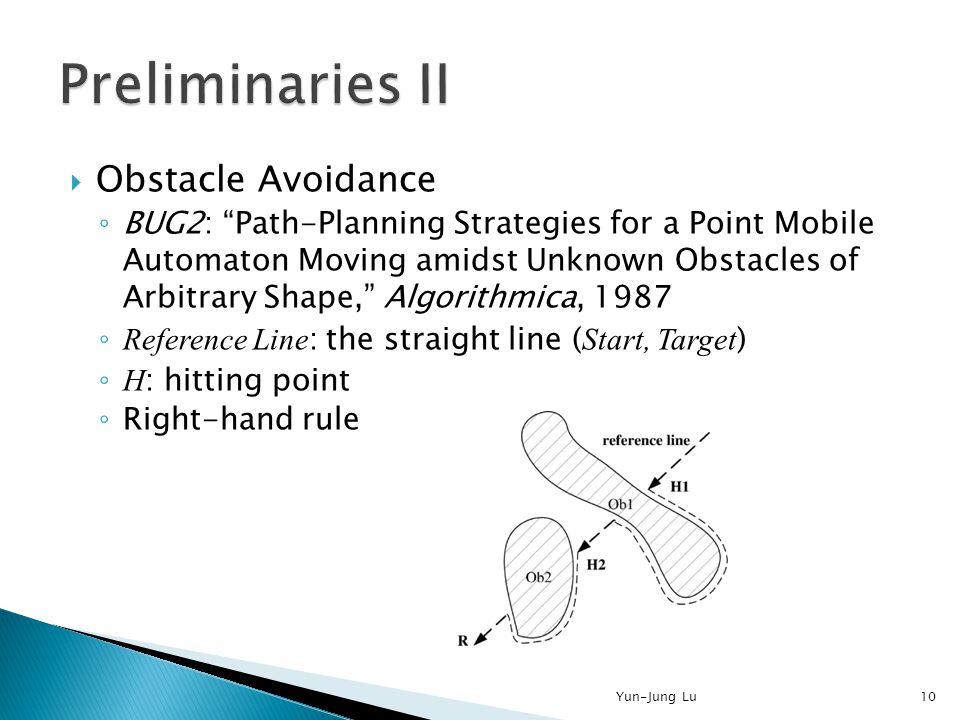 """ Obstacle Avoidance ◦ BUG2: """"Path-Planning Strategies for a Point Mobile Automaton Moving amidst Unknown Obstacles of Arbitrary Shape,"""" Algorithmica,"""