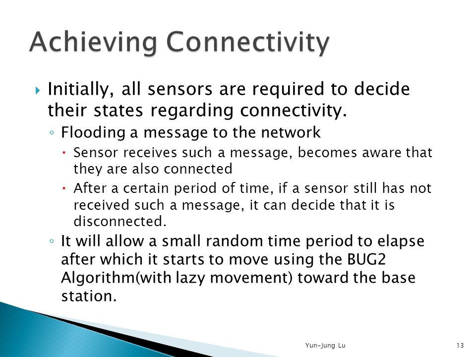  Initially, all sensors are required to decide their states regarding connectivity. ◦ Flooding a message to the network  Sensor receives such a mess