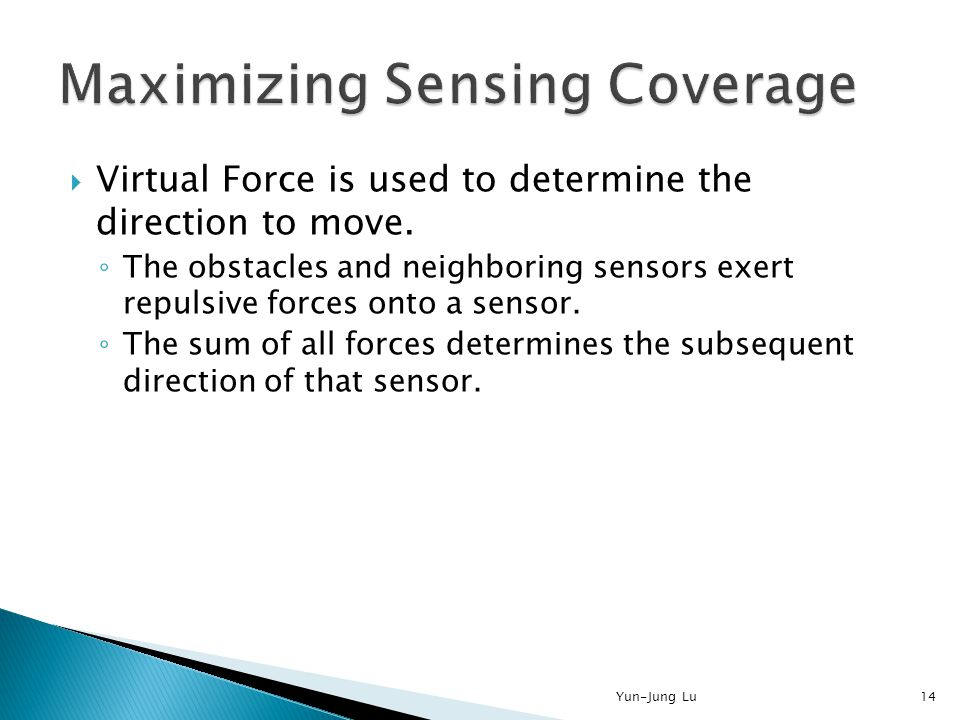  Virtual Force is used to determine the direction to move. ◦ The obstacles and neighboring sensors exert repulsive forces onto a sensor. ◦ The sum of