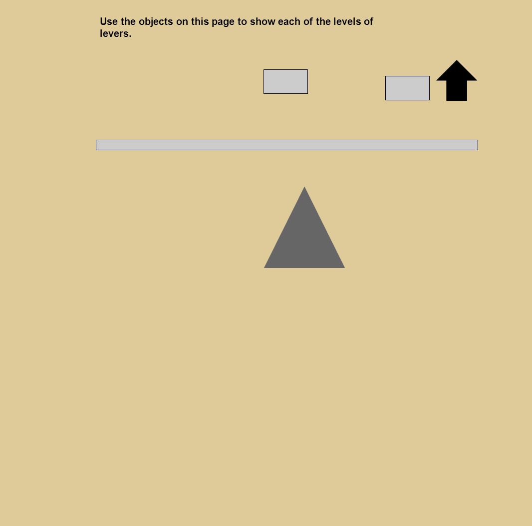 Use the objects on this page to show each of the levels of levers.